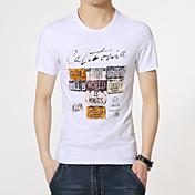 男性用 プリント カジュアル Tシャツ,半袖 コットン,ブラック / オレンジ / ホワイト / グレー