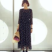 shangyaの女性のシフォンヴィンテージスリムウエストのドット3/4スリーブドレス