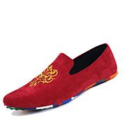 Hombre-Tacón Plano-Mocasín-Zapatos de taco bajo y Slip-Ons-Exterior Informal Deporte-Ante-Negro Rojo Azul