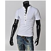 Camiseta De los hombres Un Color-Casual / Tallas Grandes-Mezcla de Algodón-Manga Corta-Negro / Azul / Verde / Blanco / Gris