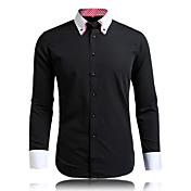 男性用 長袖 シャツ , コットン混 カジュアル / オフィス / フォーマル / プラスサイズ プレイド&チェック / プレイン