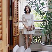 Mujer Vestido Casual/Diario Bonito,Un Color Escote Redondo Sobre la rodilla Manga Larga Algodón Para Todas las Temporadas Microelástico