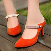 レディース 靴 レザーレット 夏 秋 スティレットヒール とともに 用途 ドレスシューズ ブラック オレンジ ブルー
