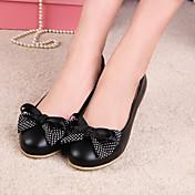 女性用 靴 レザーレット 春 夏 バレリーナ フラットヒール リボン のために オフィス&キャリア ドレスシューズ ブラック ベージュ ピンク