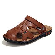 Hombre Zapatos Cuero real Semicuero Primavera Verano Confort Sandalias para Casual Negro Marrón Caqui