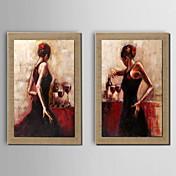 手描きの 人物 横式, 伝統風 ハング塗装油絵 ホームデコレーション 3枚