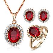 ジュエリーセット クリスタル 模造ダイヤモンド 誕生石です. クリスタル キュービックジルコニア 模造ダイヤモンド 合金 レッド ネックレス イヤリング・ピアス リング のために 結婚式 パーティー 日常 カジュアル 1セット ウェディングギフト