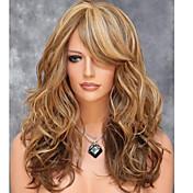Mujer Pelucas sintéticas Medio Ondulado Marrón Pelo reflectante/balayage Parte lateral Con flequillo Peluca natural Pelucas para Disfraz
