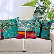 """3 18 """"コットンリネンカラーツリープリントピローベッドソファセット家庭用装飾クッション"""