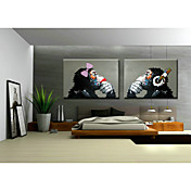 手描きの 動物 ポップアップ 横長,クラシック トラディショナル 2枚 ハング塗装油絵 For ホームデコレーション