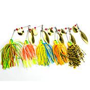 """5 pcs Cebos de pesca spinning Cebos Cebos de Giro y Zumbido Verde Naranja Amarillo Azul Rojo g/Onza mm/2-3/4"""" pulgada,Plástico duro Metal"""
