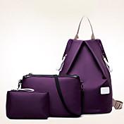 女性 バッグ オールシーズン ナイロン バックパック トラベルバッグ バッグセット 3個の財布セット のために カジュアル ブラック パープル フクシャ ブルー ワイン