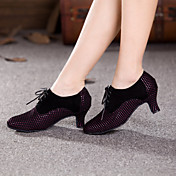 Mujer Zapatos de Baile Moderno Ante Tacones Alto Con Cordón Tacón Cubano No Personalizables Zapatos de baile Amarillo / Fucsia / Interior