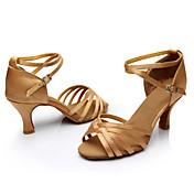 Mujer Zapatos de Baile Latino / Salón Seda Sandalia / Zapatilla Hebilla / Corbata de Lazo Tacón Personalizado Personalizables Zapatos de