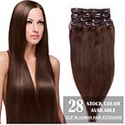 """24 """"médio marrom (# 4) 8pcs grampo em extensões de cabelo humano"""