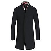 男性用 プレイン カジュアル / オフィス / フォーマル / プラスサイズ コート,長袖 ウール / ツイード,ブラック / グレー