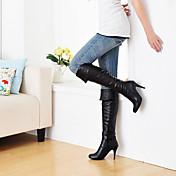 レディース 靴 レザーレット 秋 冬 スティレットヒール ニーハイブーツ ジッパー 用途 カジュアル ホワイト ブラック グレー Brown ブルー
