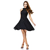A-linje Høj halset Knælang Blondelukning Cocktailparty Bal Skolebal Kjole med Blonde ved TS Couture®