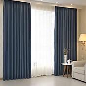 Corredizo Anillo Lazo de tela Doble plisado Solo plisado Dos Paneles Ventana Tratamiento Modern , Jacquard Un Color Dormitorio Mezcla de