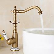 アンティーク調 バー/準備 センターセット 回転可 with  セラミックバルブ シングルハンドルつの穴 for  アンティーク真鍮 , 水栓