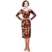 Baile Latino Vestidos Mujer Representación Terciopelo 1 Pieza Mangas largas Vestido