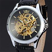 Hombre Reloj de Pulsera El reloj mecánico Cuerda Manual Piel Banda De Lujo Negro Negro