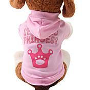 ネコ 犬 パーカー 犬用ウェア コットン 冬 春/秋 キュート ファッション ティアラ、クラウン ピンク コスチューム ペット用
