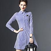 婦人向け セクシー / ストリートファッション シース ドレス , ストライプ 膝上 シャツカラー ポリエステル