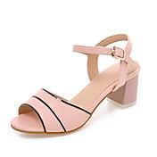 Mujer / Chica Zapatos Semicuero Primavera / Verano Tacón Cuadrado / Talón de bloque Hebilla / Poroso Beige / Azul / Rosa