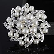 女性 真珠 人造真珠 銀メッキ 模造ダイヤモンド 合金 ファッション ジュエリー 結婚式 パーティー カジュアル
