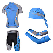 cheji® Hombre Manga Corta Maillot de Ciclismo con Shorts - Azul Bicicleta Shorts/Malla corta Sets de Prendas, Almohadilla 3D, Secado