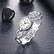 女性用 ファッションウォッチ ブレスレットウォッチ クォーツ 合金 バンド エレガント腕時計 シルバー シルバー