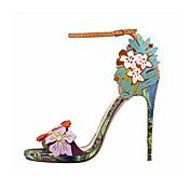 レディース 靴 レザーレット 夏 スティレットヒール プラットフォーム 用途 ドレスシューズ パーティー グリーン