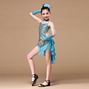 ラテンダンス セット 子供用 演出 ポリエステル スパンコール ドレープ 5個 ドレス グローブ Neckwear ヘッドピース