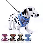 犬用品 ハーネス / リード 調整可能/引き込み式 格子柄 レッド / ブルー / イエロー / ローズピンク ナイロン
