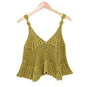 De las mujeres Bonito Playa Verano Camiseta,Escote en Pico Un Color Sin Mangas Algodón Verde / Amarillo Fino