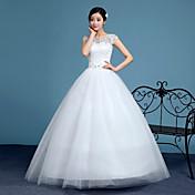 Salón Escote de ilusión Hasta el Suelo Encaje Tul Vestido de novia con Cuentas Apliques por QQC Bridal
