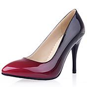 Mujer-Tacón Stiletto-Tacones / PuntiagudosVestido / Fiesta y Noche-Cuero Patentado / Semicuero-Negro / Amarillo / Rojo / Almendra