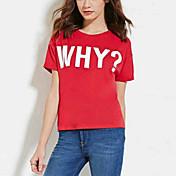 De las mujeres Chic de Calle Noche Camiseta,Escote Redondo Estampado Manga Corta Rayón Rojo Fino