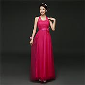 花嫁のファッションで花サッシとaラインのホルターの足首の長さサテンの花嫁介添人のドレス