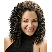 Mujer Pelucas sintéticas Corto Rizado Negro Marrón Oscuro Negro / castaño medio Pelo reflectante/balayage Peluca afroamericana Peluca