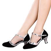 Mujer Latino Brillantina Terciopelo Sintético Sandalia Tacones Alto Zapatilla Interior Aplique Lentejuelas Volantes Fruncido Brillantina
