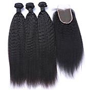 Trama del pelo con cierre Cabello Mongol Recto 6 Meses 4 Piezas los tejidos de pelo