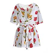 婦人向け カジュアル / ビーチ ポリエステル ジャンプスーツ,マイクロエラスティック 薄手 半袖