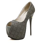 レディース 靴 レザーレット 夏 スティレットヒール プラットフォーム 用途 ドレスシューズ パーティー ブラック グレー