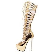 女性-カジュアル-PUレザー-スティレットヒール-ファッションブーツ-ブーツ-ゴールド