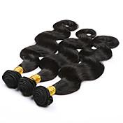 Cabello humano Cabello Brasileño Tejidos Humanos Cabello Ondulado Grande Extensiones de cabello 3 Piezas Negro Negro