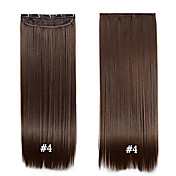 """clip en el pelo 24 """"60cm 120g # 4 de largo clip recto sintético en extensiones de cabello piezas 5 clips de fibra de alta temperatura"""