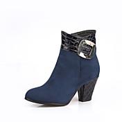 レディース 靴 レザーレット 春 秋 冬 ファッションブーツ ブーツ チャンキーヒール ブーティー/アンクルブーツ 用途 カジュアル ブラック ブルー バーガンディー