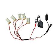 SYMA x5c×5のx5scのRCのクワッドローター1〜5のUSB充電ケーブルアダプタの部品との5pcs 3.7Vのた650mAhのバッテリー
